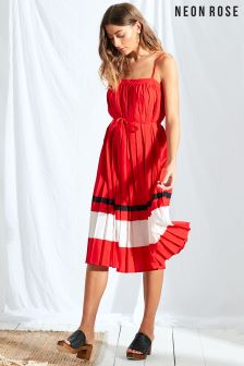 Neon Rose Red Sport Stripe Pleated Midi Dress
