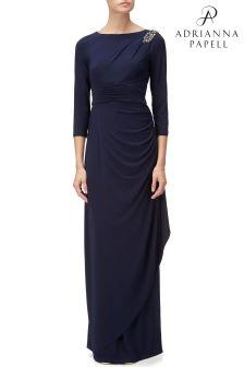 Adrianna Papell Blue Long Matte Jersey Dress