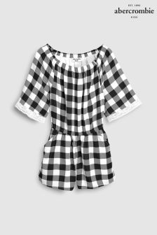 Abercrombie & Fitch Black Gingham Jumpsuit