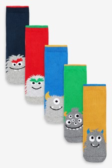 5 Pack Full Terry Cotton Rich Monster Socks (Younger)