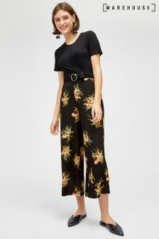 Warehouse Black Tropical Bunch Culotte