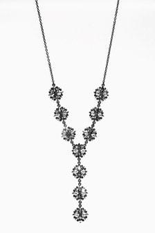 Floral Sparkle Effect Drop Necklace