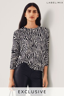 Mix/Holly Fulton Zebra Print Jumper