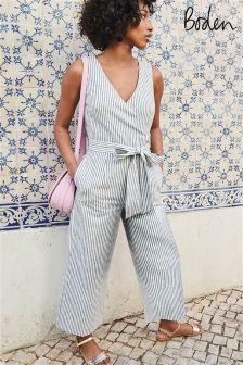 Boden Chambray Blue/Ivory Stripe Wrap Jumpsuit
