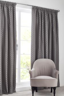 Woven Geo Pencil Pleat Lined Curtains
