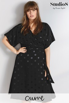 Studio 8 Black Whitney Spot Jacquard Dress