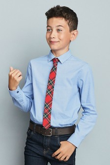 Long Sleeve Shirt And Tartan Tie (3-16yrs)