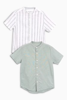 Linen Mix Shirts Two Pack (3-16yrs)