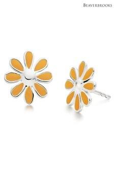 Beaverbrooks Children's Silver Enamel Flower Stud Earrings