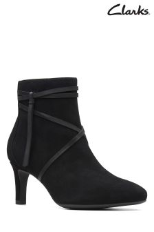 Clarks Black Suede Calla Aster Strap Ankle Boot