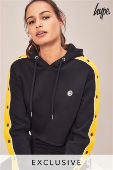 Hype. Black/Yellow Crop Hoody