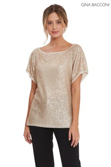 Gina Bacconi Gold Lupe Stretch Sequin Top