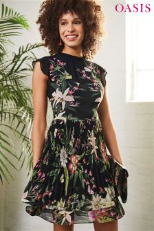 Oasis Black Secret Garden Pleated Skater Dress