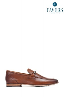 Pavers Brown Leather Men's Snaffle Loafers