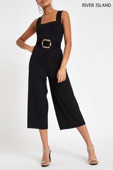 River Island Black Square Neck Jumpsuit