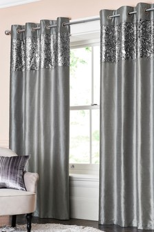 Opulent Sequin Band Eyelet Curtains