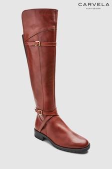 Carvela Viv Overknee-Stiefel aus Leder mit elastischem Einsatz, hellbraun