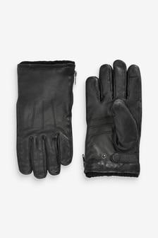 Kožené rukavice so zipsom