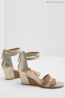 Mint Velvet Iris Tan Wedge Strap Sandal