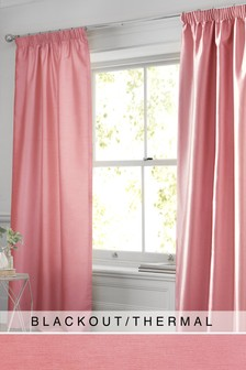 Faux Silk Pencil Pleat Blackout/Thermal Curtains