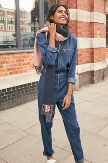 Zipped Denim Boilersuit