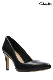 Clarks Black Leather Laina Rae Court Shoe