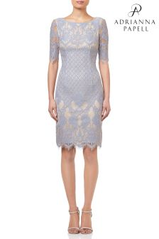 Adrianna Papell Sky Bell Sleeve Georgia Lace Sheath Dress
