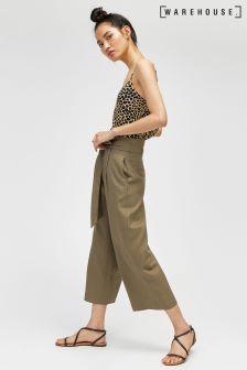 Warehouse Khaki Linen Culotte