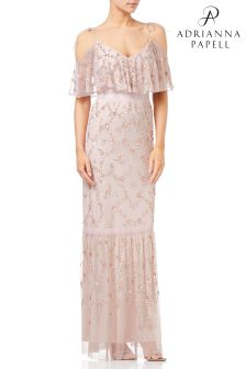 Adrianna Papell Pink Flounce Beaded Mesh Gown