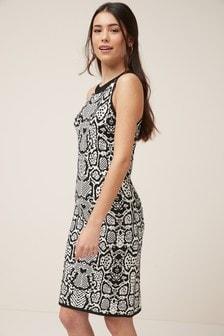Halterneck Jacquard Dress