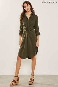 Mint Velvet Green Khaki Twist Front Shirt