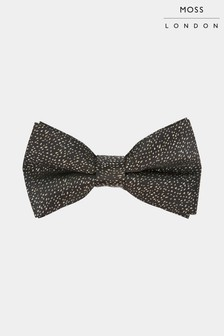 Moss London Black/Gold Woven Bow Tie