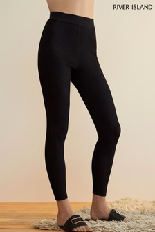 River Island Black RI Studio Ribbed Knitted Leggings