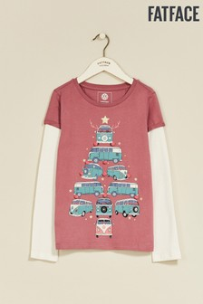 FatFace Red VV Xmas Graphic T-Shirt