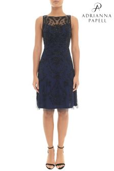 Adrianna Papell Short Fully Beaded Dress