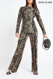 River Island Petite Pink Zebra Print Plisse Trouser