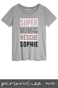 Personalised Super Mum Printed T-Shirt