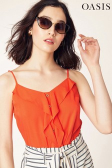 Oasis Coral Button Frill Front Cami