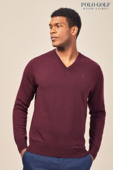 Ralph Lauren Polo Golf Aged Wine V Neck Sweater