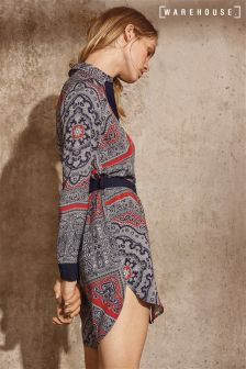 Warehouse Black Red Scarf Print Shirt Dress