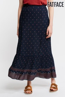 FatFace Blue Lydia Foulard Border Maxi Skirt