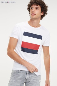 Tommy Hilfiger White Embossed Flag Box T-Shirt