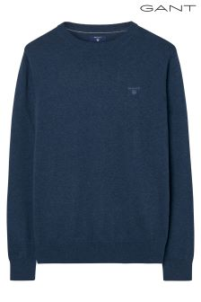 GANT Dark Denim Lightweight Cotton Crew Neck