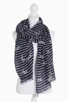 Dog Pattern Stripe Scarf