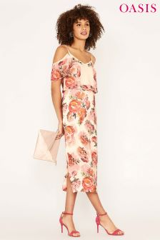 Oasis Black Romance Rose Cold Shoulder Midi Dress