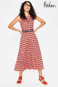 Boden Orange Thea Midi Dress