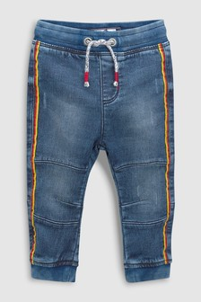 Jersey Denim Rainbow Side Stripe Jeans (3mths-6yrs)