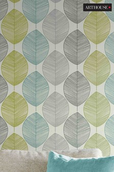 Arthouse Retro Leaf Wallpaper