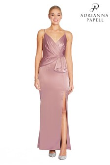 Adrianna Papell Pink Light Satin Dress