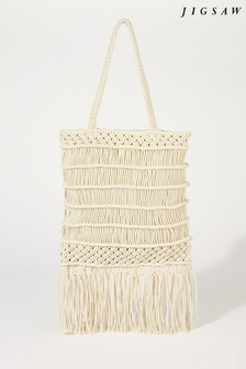 Jigsaw Cream Kaia Macrame Cross Body Bag